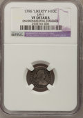 Early Half Dimes, 1796 H10C LIKERTY--Environmental Damage--NGC Details. VF. V-1,LM-1, R.3....