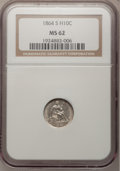 Seated Half Dimes, 1864-S H10C MS62 NGC....