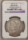 Morgan Dollars, 1885-CC $1 --Improperly Cleaned--NGC Details. F. NGC Census: (2/7971). PCGS Population (11/17303). Mintage: 228,000. Numisme...