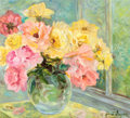 Fine Art - Painting, American:Contemporary   (1950 to present)  , The Collection of Paul Gregory and Janet Gaynor. JANETGAYNOR (American, 1906-1984) . Pink and Yellow Roses,circa...