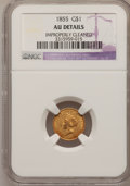 Gold Dollars, 1855 G$1 --Improperly Cleaned--NGC Details. AU. NGC Census:(197/4329). PCGS Population (353/2394). Mintage: 758,269. Numism...