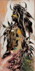 Fine Art - Painting, American:Contemporary   (1950 to present)  , THE COLLECTION OF PAUL GREGORY AND JANET GAYNOR. O.E.L.GRAVES (American, 1897-1971). Buffalo Dancer. Oil oncanva...