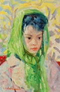 Fine Art - Painting, European:Contemporary   (1950 to present)  , THE COLLECTION OF PAUL GREGORY AND JANET GAYNOR. LUIGICORBELLINI (Italian, 1901-1968). Girl in a Green Scarf,cir...