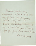 Music Memorabilia:Autographs and Signed Items, Billie Holiday Handwritten Note....