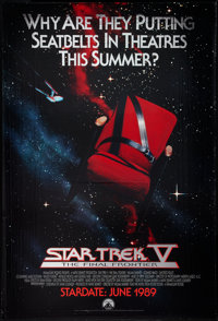 "Star Trek V: The Final Frontier (Paramount, 1989). One Sheet (27"" X 40""). Mylar Lettered Advance Style. Scienc..."