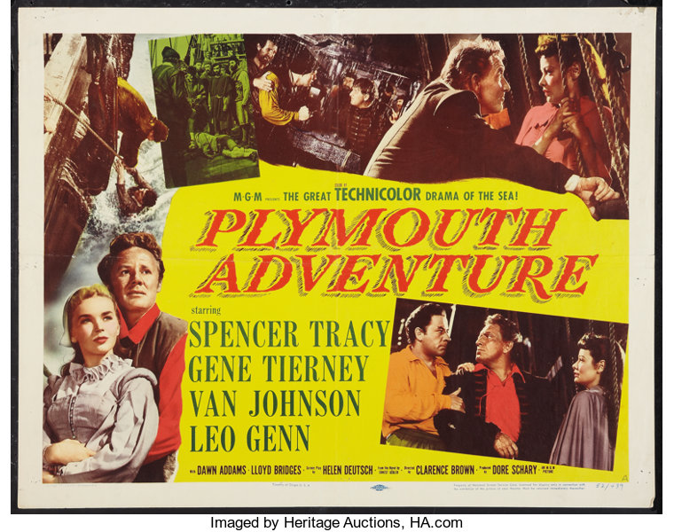 Plymouth Adventure Mgm 1952 Half Sheet 22 X 28 Style A Lot 54306 Heritage Auctions