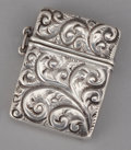 Silver Smalls:Match Safes, AN AMERICAN SILVER MATCH SAFE . Maker unknown, circa 1900 . Marks:STERLING. 1-3/8 inches high (3.4 cm). .36 troy ounce...