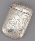 Silver Smalls:Match Safes, AN AMERICAN SILVER MATCH SAFE . Webster Company, North Attleboro,Massachusetts, circa 1900. Marks: (W with arrow), STER...