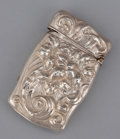 Silver Smalls:Match Safes, AN AMERICAN SILVER REPOUSSÉ MATCH SAFE . Maker unknown, circa 1890. 2-5/8 inches high (6.7 cm). .55 troy ounces . ...