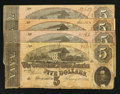 Confederate Notes:1864 Issues, T69 $5 1864 Four Examples.. ... (Total: 4 notes)