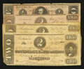 Confederate Notes:1864 Issues, $2's and $1's.. ... (Total: 4 notes)