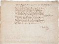 Autographs:Celebrities, Sir Walter Raleigh Document Signed...