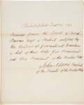 "Autographs:U.S. Presidents, John Adams Autograph Document Signed as Vice President. One page, 7.75"" x 10"", Philadelphia, December 14, 1792. ..."