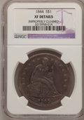 Seated Dollars: , 1844 $1 --Improperly Cleaned--NGC Details. XF. NGC Census: (7/112).PCGS Population (16/149). Mintage: 20,000. Numismedia Ws...