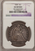 Seated Dollars: , 1868 $1 --Obverse Scratched--NGC Details. AU. NGC Census: (6/50).PCGS Population (24/59). Mintage: 162,100. Numismedia Wsl....