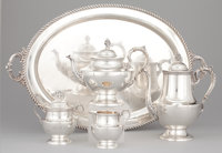 A FOUR-PIECE AMERICAN SILVER TEA AND COFFEE SERVICE WITH TRAY Poole Silver Co., Taunton, Massachusetts, circa 195