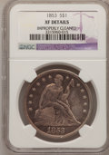 Seated Dollars: , 1853 $1 --Improperly Cleaned--NGC Details. XF. NGC Census: (1/127).PCGS Population (12/161). Mintage: 46,110. Numismedia Ws...