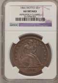 Seated Dollars, 1866 $1 Motto--Improperly Cleaned--NGC Details. AU. NGC Census:(7/59). PCGS Population (11/98). Mintage: 48,900. Numismedi...
