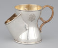 Silver Holloware, British:Holloware, A VICTORIAN SILVER AND SILVER GILT SEPARATING CUP WITH CANED HANDLE. Maker unidentified, Birmingham, England, circa 1901-19...