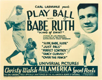 "Play Ball with Babe Ruth (Universal, 1932). Stock Title Lobby Card (11"" X 14"")"