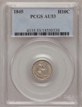 Seated Half Dimes, 1845 H10C AU53 PCGS. PCGS Population (1/163). NGC Census: (2/171).Mintage: 1,564,000. Numismedia Wsl. Price for problem fr...
