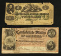 Confederate Notes:Group Lots, Two Circulated Confederate Notes.. ... (Total: 2 notes)