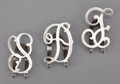 Silver Smalls:Other , A GROUP OF THREE AMERICAN SILVER INITIAL MONEY CLIPS . Makerunidentified, American, circa 1950. Marks: ALW, STERLING.1... (Total: 3 Items)