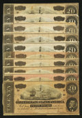 Confederate Notes:1864 Issues, T67 $20 1864.. ... (Total: 10 notes)