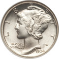 Mercury Dimes: , 1934 10C MS67 Full Bands NGC. NGC Census: (60/8). PCGS Population (164/20). Mintage: 24,080,000. Numismedia Wsl. Price for ...