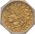 California Fractional Gold, 1872 25C Indian Octagonal 25 Cents, BG-791, R.3, MS65 NGC. NGCCensus: (6/0). PCGS Population (14/3). (#10618)...
