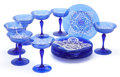 Art Glass:Other , The Collection of Paul Gregory and Janet Gaynor. A CONTINENTAL BLUE GLASS PARTIAL DESSERT SERVICE WITH WHITE ENAMELED LA... (Total: 13 Items)