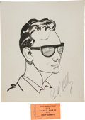 Music Memorabilia:Autographs and Signed Items, Buddy Holly Signed Fan Sketch (1957)....
