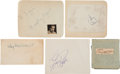 Movie/TV Memorabilia:Autographs and Signed Items, Humphrey Bogart, Cary Grant, and Other Vintage Celebrity Autographs.... (Total: 5 Items)