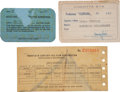 Movie/TV Memorabilia:Documents, Ed Wynigear's Studio Cards and Pay Stub.... (Total: 3 )