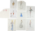Movie/TV Memorabilia:Original Art, Lucille Ball Assorted The Lucy Show Costume Sketches....(Total: 9 )