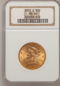 Liberty Eagles: , 1903-S $10 MS65 NGC. NGC Census: (74/45). PCGS Population (49/17).Mintage: 538,000. Numismedia Wsl. Price for problem free...