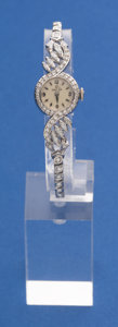 Timepieces:Wristwatch, Omega 14k White Gold Diamond Wristwatch 14k Gold Diamond Band. ...