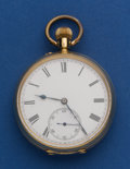 Timepieces:Pocket (post 1900), Swiss 18k Gold 49 mm, Open Face Pocket Watch. ...
