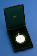 Timepieces:Pocket (post 1900), Tiffany 46 mm, 18k Gold Gents Open Face Pocket Watch Original Box, Movement by Longines. ...