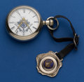 Timepieces:Pocket (post 1900), Elgin 18 Size With Masonic Fob & Newer Masonic Dial. ...