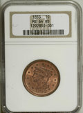 Large Cents: , 1853 1C MS64 Red NGC. N-13, R.1. A bold strike and clean surfacescharacterize this near-Gem. Some mellowing is noted on th...