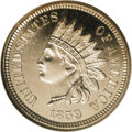 Proof Indian Cents: , 1859 1C PR64 Cameo NGC. The 1859 is an important one-year type and it is also rarely encountered with any degree of contras...