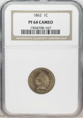 Proof Indian Cents: , 1862 1C PR64 Cameo NGC. Beautifully contrasting orange-gold fields and almond-tan devices make a startling contrast on this...