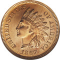 Proof Indian Cents: , 1867 1C PR65 Red Cameo ANACS. A splendid cameo proof Indian cent, boldly struck with highly reflective fields and nicely fr...