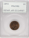 Proof Indian Cents: , 1892 1C PR65 Red PCGS. Bright orange-gold surfaces are devoid of mentionable abrasions or spots, and reveal boldly struck d...