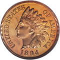 Proof Indian Cents: , 1894 1C PR65 Red Cameo PCGS. Light gold color dominates this meticulously struck and radiant Gem, although glimpses of peac...
