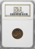 Proof Indian Cents: , 1908 1C PR65 Red NGC. Vibrant copper-orange with a splash of magenta at the upper feathers. The well-preserved surfaces and...