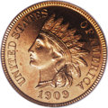 Proof Indian Cents: , 1909 1C PR66 Red Cameo PCGS. Bright copper-gold surfaces are joined with whispers of fiery crimson on the reverse. Bold def...