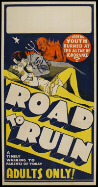 "The Road to Ruin (First Division Pictures, 1934). Three Sheet (41"" X 81""). Drama"