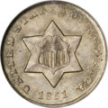 Three Cent Silver: , 1851-O 3CS MS66 NGC. This pretty first-year example is one of720,000 struck at the New Orleans Mint. The simple design of ...